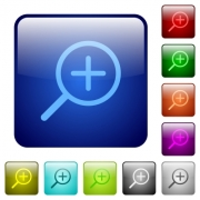 Set of zoom in color glass rounded square buttons - Color zoom in square buttons