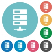 Flat data network icon set on round color background. - Flat data network icons