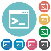 Flat command prompt icon set on round color background. - Flat command prompt icons