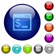 Set of color linux terminal glass web buttons. - Color linux terminal glass buttons