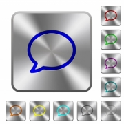 Engraved comment icons on rounded square steel buttons - Steel comment buttons
