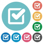 Flat checkbox icon set on round color background. - Flat checkbox icons