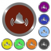 Set of color glossy coin-like ringing bell buttons. - Color ringing bell buttons