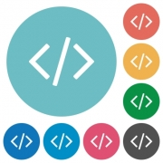 Flat programming code set on round color background. - Flat programming code icons
