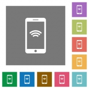 Wireless mobile flat icon set on color square background. - Wireless mobile square flat icons