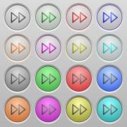 Set of Media fast forward plastic sunk spherical buttons. - Media fast forward plastic sunk buttons