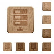 Set of carved wooden Data network buttons in 8 variations. - Data network wooden buttons
