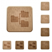 Set of carved wooden Shared folders buttons in 8 variations. - Shared folders wooden buttons