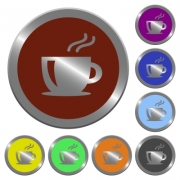 Set of color glossy coin-like cappuccino buttons. - Color cappuccino buttons - Large thumbnail