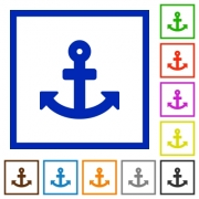 Set of color square framed anchor flat icons on white background - Anchor framed flat icons - Large thumbnail