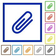 Set of color square framed attachment flat icons on white background - Attachment framed flat icons - Large thumbnail