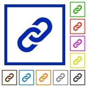 Set of color square framed link flat icons on white background - Link framed flat icons - Large thumbnail