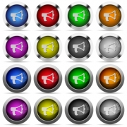 Set of megaphone glossy web buttons. Arranged layer structure. - Megaphone button set