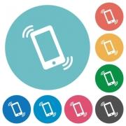 Flat ringing phone icon set on round color background. - Flat ringing phone icons