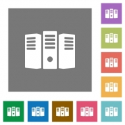 Server hosting flat icon set on color square background. - Server hosting square flat icons