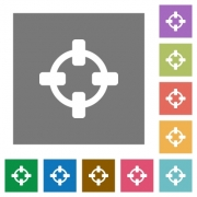 Crosshairs flat icon set on color square background. - Crosshairs square flat icons