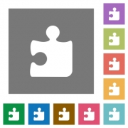 Puzzle flat icon set on color square background. - Puzzle square flat icons