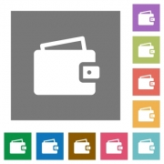 Wallet flat icon set on color square background. - Wallet square flat icons