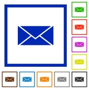 Set of color square framed envelope flat icons on white background - Envelope framed flat icons