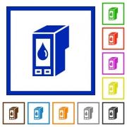 Set of color square framed Ink cartridge flat icons on white background - Ink cartridge framed flat icons