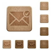 Set of carved wooden Mail sent buttons in 8 variations. - Mail sent wooden buttons