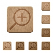 Set of carved wooden zoom in buttons in 8 variations. - Zoom in wooden buttons