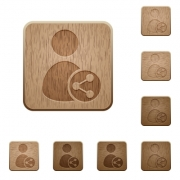 Set of carved wooden share user buttons in 8 variations. - Share user wooden buttons