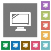 Monitor flat icon set on color square background. - Monitor square flat icons