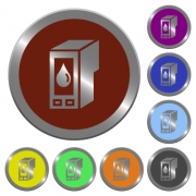 Set of color glossy coin-like ink cartridge buttons. - Color ink cartridge buttons