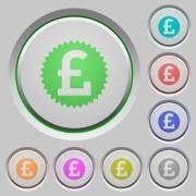 Set of color pound sticker sunk push buttons. - Pound sticker push buttons