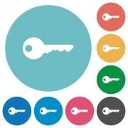 Flat key icon set on round color background. - Flat key icons