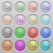 Set of Share documents plastic sunk spherical buttons. - Share documents plastic sunk buttons