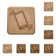 Set of carved wooden Ringing phone buttons in 8 variations. - Ringing phone wooden buttons