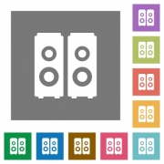 Speakers flat icon set on color square background. - Speakers square flat icons