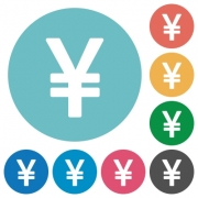 Flat yen sign icon set on round color background. - Flat yen sign icons