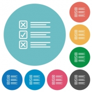 Flat questionnaire icon set on round color background. - Flat questionnaire icons