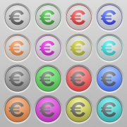 Set of euro sign plastic sunk spherical buttons. - Euro sign plastic sunk buttons