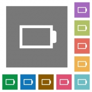 Empty battery flat icon set on color square background. - Empty battery square flat icons