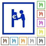 Set of color square framed Euro cash machine flat icons on white background
