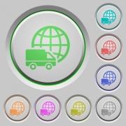 Set of color International transport sunk push buttons. - International transport push buttons