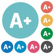 Flat increase font size icon set on round color background. - Flat increase font size icons
