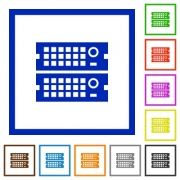 Set of color square framed rack servers flat icons on white background - Rack servers framed flat icons