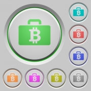 Set of color Bitcoin bag sunk push buttons. - Bitcoin bag push buttons