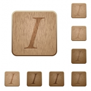 Set of carved wooden Italic font buttons in 8 variations. - Italic font wooden buttons