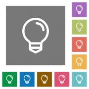 Light bulb flat icon set on color square background. - Light bulb square flat icons