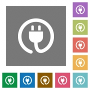 Power cord flat icon set on color square background. - Power cord square flat icons