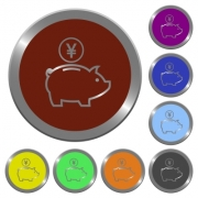 Set of color glossy coin-like yen piggy bank buttons. - Color yen piggy bank buttons