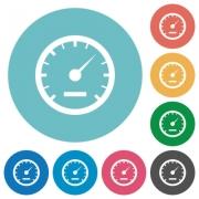 Flat speedometer icon set on round color background. - Flat speedometer icons