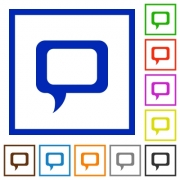 Set of color square framed comment flat icons on white background - Comment framed flat icons