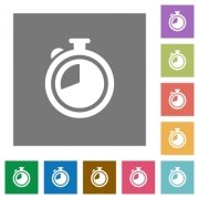Timer flat icon set on color square background. - Timer square flat icons